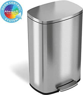 iTouchless SoftStep 13.2 Gallon Stainless Steel Step Trash Can with Odor Control System,..