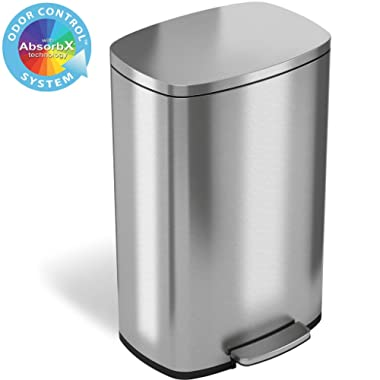 iTouchless SoftStep 13.2 Gallon Stainless Steel Step Trash Can with Odor Control System, 50 Liter Pedal Garbage Bin for Kitchen, Office, Home - Silent and Gentle Open and Close