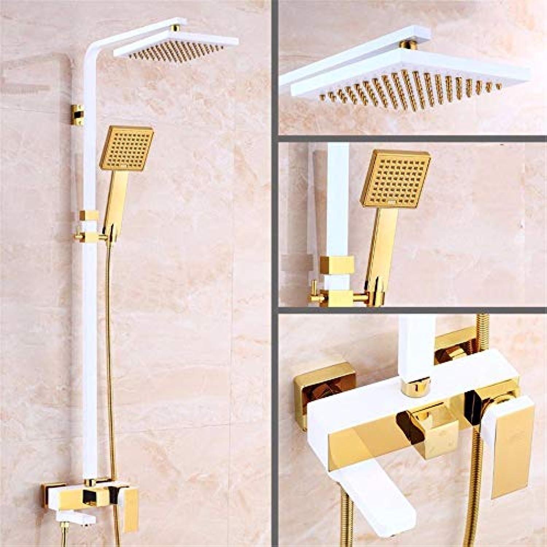 Regen Armaturen, retro Kupfer Dusche, Golden Square Badezimmer, heiem und kaltem Regen Kopf, Badezimmer Set, H