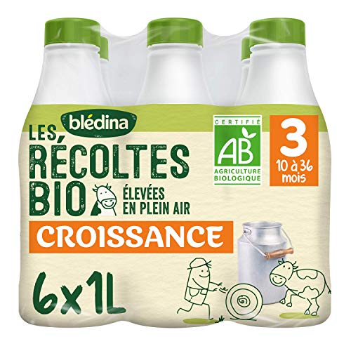 Blédina Blédilait Croissance - Lait bébé Bio de 10 à 36 mois 6 x 1 L