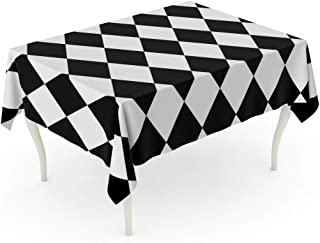 Tinmun Waterproof Tablecloth 52 x 70 Inches Diamond Black and White Pattern Circus Abstract Bathroom Checkerboard Decorative Rectangular Tabletop Cover for Outdoor Indoor Use