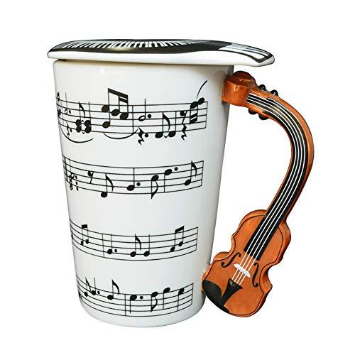 Giftgarden Keramik-Kaffeetasse mit Deckel, Violine, Musiknoten, für Wasser, Milch, Tee, Getränke, Porzellan, 383 ml