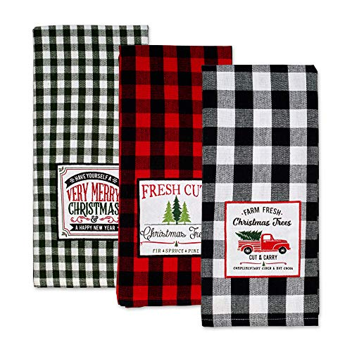 DII Vintage Christmas Farmhouse Kitchen Collection, Dishtowel Set, Tree Farm 3 Count