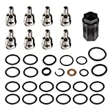 Goupgo Oil Rail Ball Tube O-Rings Repair Tool & Nipple Cup Socket & Nipple Cups & Injector Seals Kit Compatible with Ford 6.0L Powerstroke Diesel 2003-2007