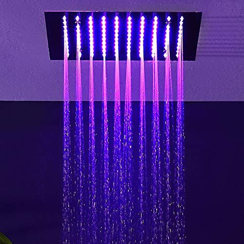 YUXIANG grote regendouche kop, LED 12'' Square vaste douchekop gemaakt van 304 roestvrij staal, universele muur en plafond montage (Chrome)