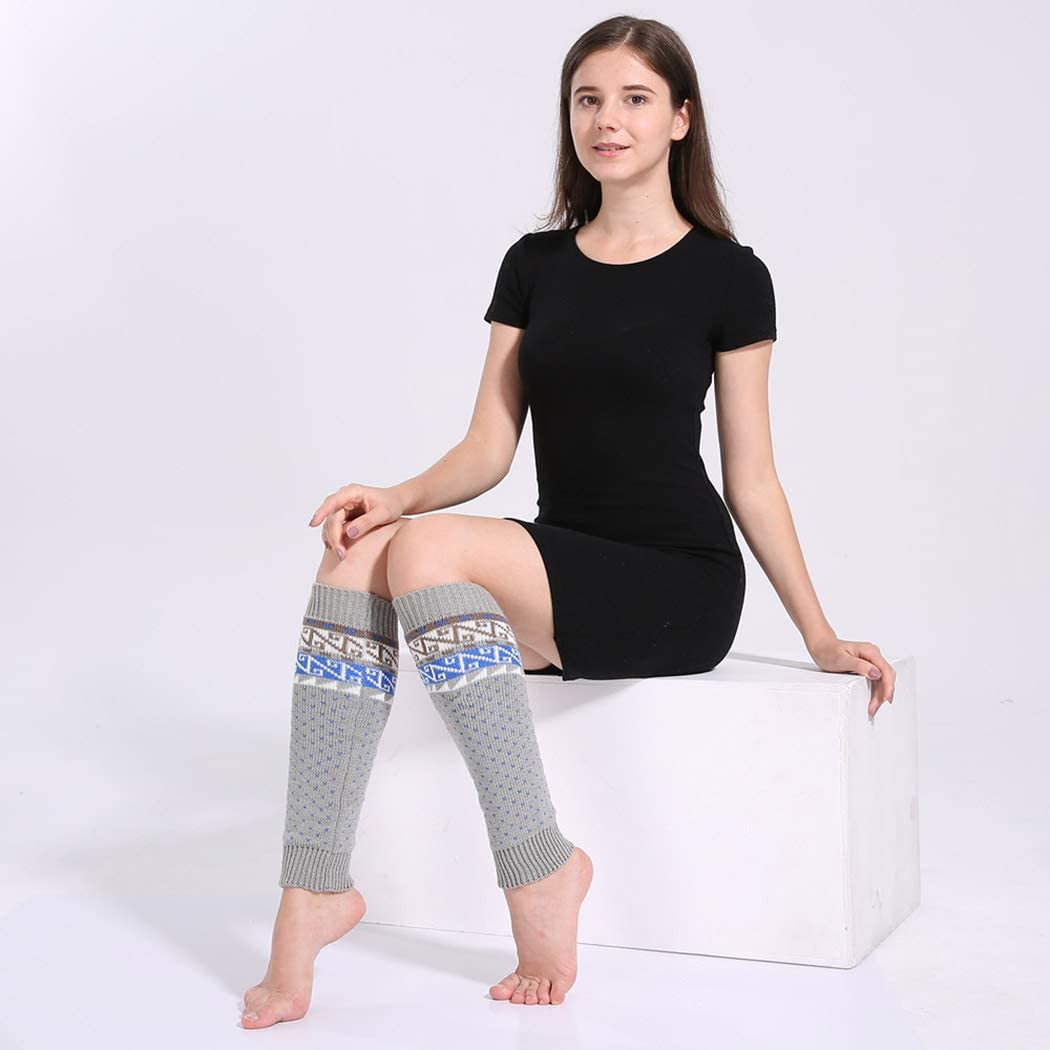 Urieo Knit Leg Warmers Grey Polyester Long Knee High Winter Leg Sleeve Warm Comfy Stylish Yoga Party Date Daily Knit Footless Socks for Women and Girls