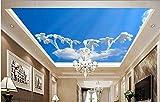 ShAH Murales de techo 3D personalizados, papel pintado 3D, diseño de nubes de setas, color azul, para techo, 350 x 256 cm
