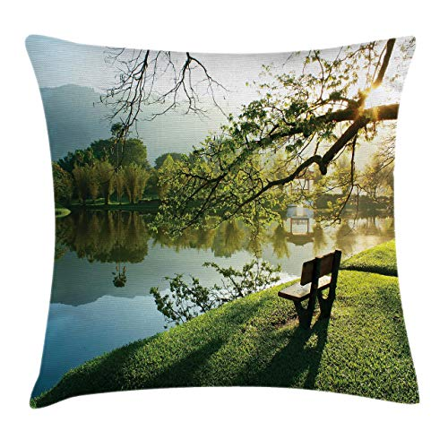 DPASIi Throw Pillow Covers, Wooden Chair at Lake Garden Park Serene Calming Environment Fresh Land Picture,Decorative Cover Sets for Pillows 16x16 Inches