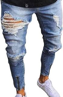 Men's Ripped Slim Motorcycle Denim Jeans Hip Hop Streetwear Pants