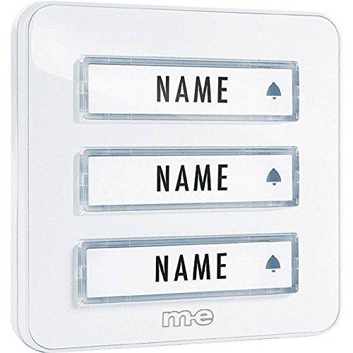 m-e GmbH modern-electronics - Placca per campanello, serie KTA, 3 pulsanti, colore: Bianco