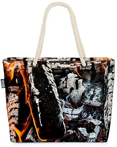 VOID Lagerfeuer Grillen Kamin Strandtasche Shopper 58x38x16cm 23L XXL Einkaufstasche Tasche Reisetasche Beach Bag