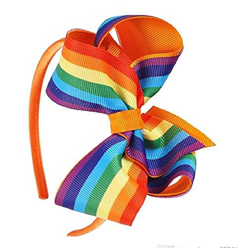 Cerchietto Capelli per bambina - Fiocco - Nastro Colorato - Multicolore - Arcobaleno - Idea regalo originale - Colore Arancione