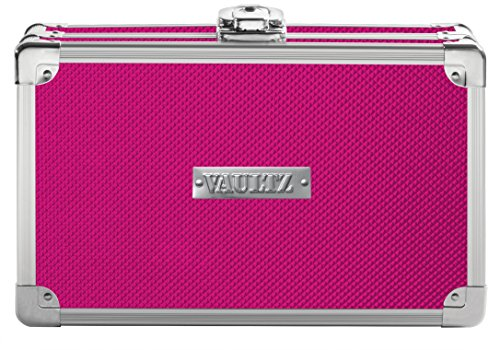 Vaultz Locking Supplies & Pencil Box with Key Lock, 5'x 2.5'x 8.5', Pink (VZ00774)