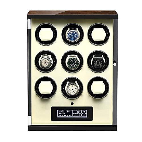 XIUWOUG Caja giratoria automática para relojes con panel táctil y pantalla con mando a distancia, almohadilla ajustable para reloj y motor silencioso (color: blanco, tamaño: 9+0)