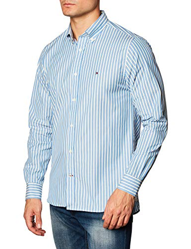 Tommy Hilfiger Bold Stripe Shirt Camisa, Copenhague Azul/Marfil/Yale Navy, M para Hombre