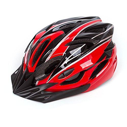 Babimax Casque Vélo Casque de Sécurité Respirant avec Visière léger Protection de Tête Casque VTT VTC Equipement pour Cycliste Unisexe Casque Casquette 56-63 cm Adultes Jeunes(Noir/Rouge, L)