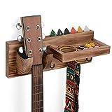 Gitarrenhalter an der Wand montierter Gitarrenwandhalter Holz-Aufhänger mit Gitarren-Pick-Halter und 3 Haken, Hölzerner Gitarrenhakenhalter, rustikales Braun