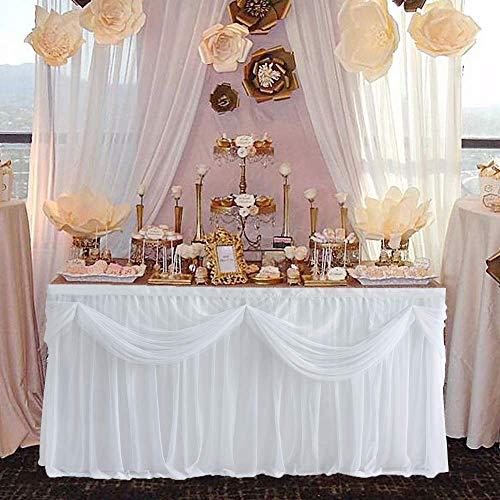 NSSONBEN Tüll Tischrock Weiß Tischdeko Tischröcke Für Baby Shower, Hochzeit,Geburtstag, Kindergeburtstag 2Yards 183cm X 76cm