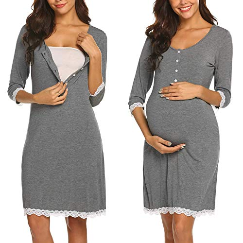 Ekouaer Nursing Nightgown Cotton Breastfeeding Lounge Dress Lace Trim Delivery Gown (Grey L)