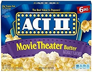 Act II Popcorn, Movie Theater Butter, 2.75 oz. Bags, 6 Count