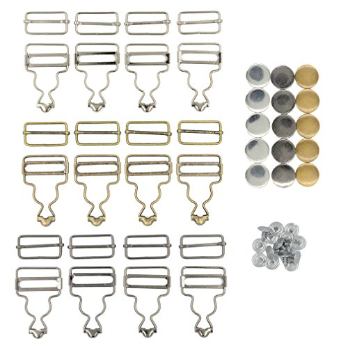 DGOL 12 Sets 3 Color Suspender Buckle,Tri-Glide Overall Buckles with 15 Sets Copper Buttons Full Set (1-1/2 inch)