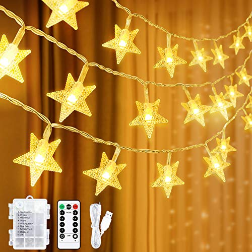 Star Fairy Lights USB Operated Or Battery Powered,39Ft 100LED Star String Lights with Remote Timer,8 Mode Waterproof for Christmas Wedding Garden Bedroom Party Birthday Indoor Outdoor(Warm White)
