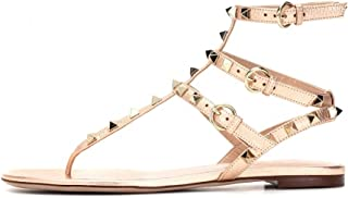 6021ceb4e8cc5 VOCOSI Women s Rivets Studded Flats Shoes T-Strap Strappy Flats Thong Sandals  Shoes