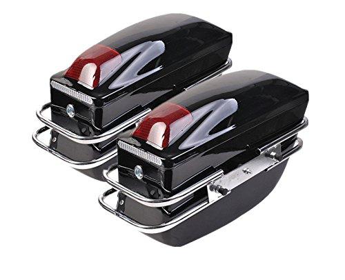 2 Pcs Motorcycle Cruiser Hard Trunk Saddlebags Luggage w/Lights Mounted Chrome Rail Bracket Black