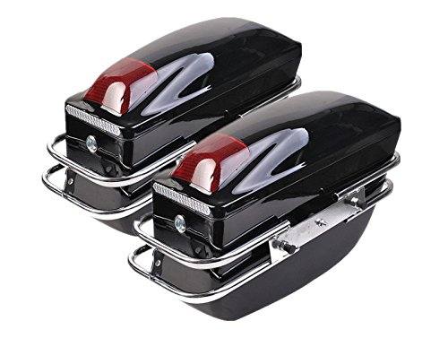 Comie 2 Pcs Motorcycle Cruiser Hard Trunk Saddlebags Luggage w/Lights Mounted Chrome Rail Bracket BK