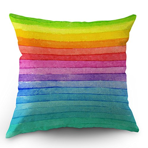Moslion Rainbow Pillow Cover Summer Rainbow Stripes Cotton Linen Decorative Throw Pillow Case 18 x 18 Inch Standard Square Cushion Cover for Sofa Bedroom Men Women Multicolor