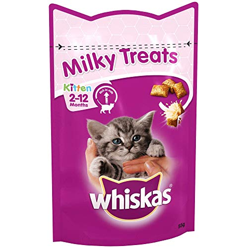 Whiskas Kitten Milky Treats - Tasty, Milky Treats for Kittens from 2 to 12 Months, Small Bite Size Snacks with A Delicious Milky Filling, 8 x 55 g Packets