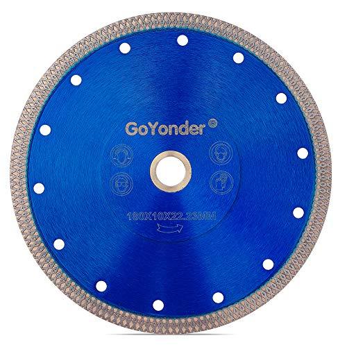 "GoYonder 7 Inch Super Thin Diamond Saw Blade for Cutting Porcelain,Tiles,Granite, Marble ,Ceramics (7""-Blue)"