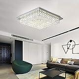 Horisun Minimalist Crystal Chandelier LED Ceiling Light Fixture 4000K Dimmable Flush Mount Ceiling Lamp Square Pendant Lamp for Dining Room, Bathroom, Bedroom, Living Room, Kitchen, Hallway