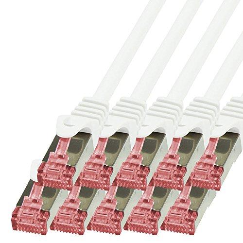 BIGtec - 10 Stück - 2m Netzwerkkabel Patchkabel Ethernet LAN DSL Patch Kabel Gigabit weiß (2X RJ-45 Anschluß, CAT6, doppelt geschirmt) 2 Meter