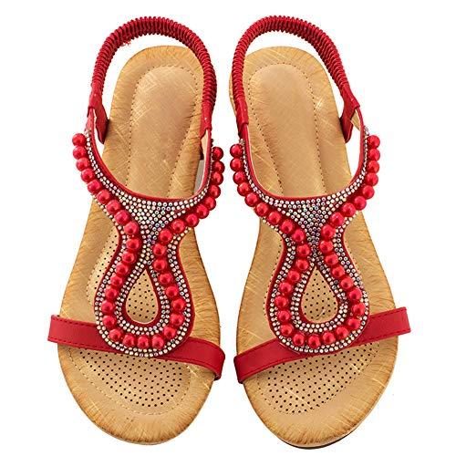 Damen Flach-Sandalen Sommer-Bohemia Strand-Sandaletten mit Strass Rot 39 EU
