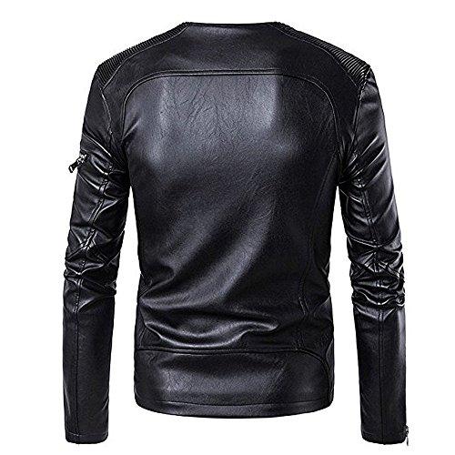 BBring Herren PU Lederjacke, Mode Herbst & Winter Stehkragen BikerJacket Motorradjacke Reißverschluss Outwear Warm Mantel (M, Schwarz) - 4
