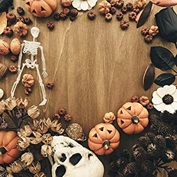 DaShan 10x10FT Halloween Photography Background Horror Skull Skeleton Black Rose Pine Cone Pumpkins Wooden Floor Backdrop Party Decoration Autumn Harvst Frame Photo Studio Shoot Props Polyester