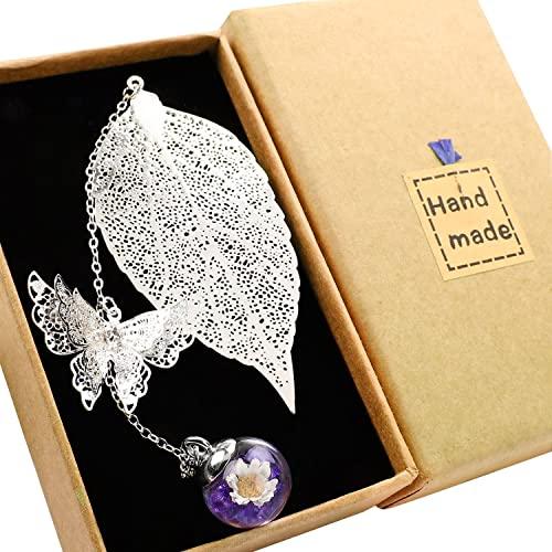 Toirxarn Squisito segnalibro a foglia metallica, con farfalla 3D e perle di vetro Ciondolo eterno a fiore secco. Regalo per lettori, donne e bambini.