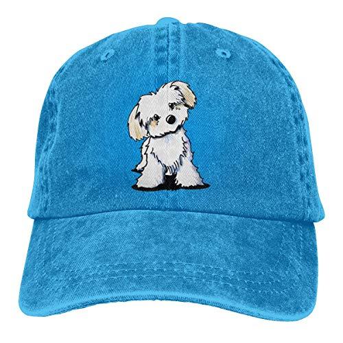 AOOEDM Cute Maltés Puppy Dog Unisex Sombreros de Vaquero Deporte Sombrero de Mezclilla Gorra de béisbol de Moda Negro