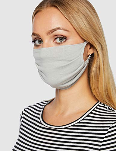 Oscar Apparels Reusable Face Mask, 100% BCI Cotton with Elastic Loop, Grey, Adult (10 Pack)