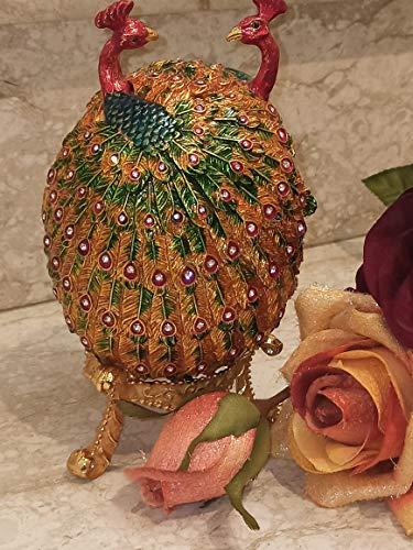 Faberge Egg - Caja de regalo para mujer, diseño de pavo real, multicolor