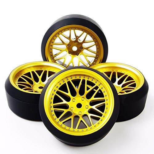 MENGzhuHSA Autoreifenmodell 4Pcs / Set BBG + PP0370 1/10 Drift Reifen Felgen mit 6mm Offset fit On-Road RC Auto-Modell Zubehör für Kinder DIY Craft (Color : As Show)