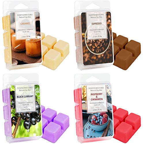 DERDUFT Scented Soy Wax Melts, Scent of Caramel, Blackcurrant, Espresso, Raspberry & Cinnamon, 4 Pack