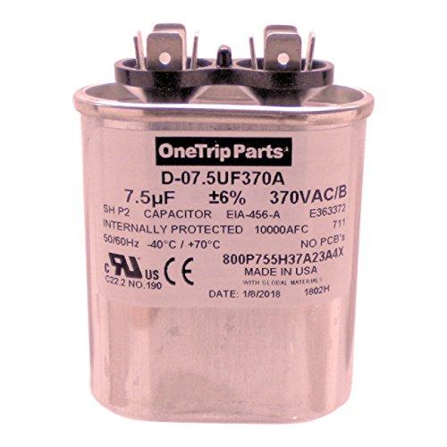 OneTrip Parts USA Run Capacitor 7.5 UF - 7.5 MFD 370 VAC Flat Oval