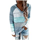 Women Casual Color Block Hoodies Striped Long Sleeve Sweaters Lightweight V Neck Knit Pullover Sweatshirts Tops