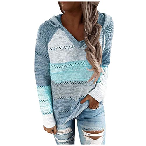 Why Choose Meikosks Womens Long Sleeves Hooded Sweater Patchwork Blouse Tops Plus Size Shirt V-Neck ...