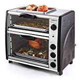 oneConcept All-You-Can-Eat Horno eléctrico doble - 2 cámaras de cocción, Parrilla superior, Capacidad Total 42 L, 2400 W, Temperatura: 60-240°C, Temporizador, Acero inoxidable, Plateado