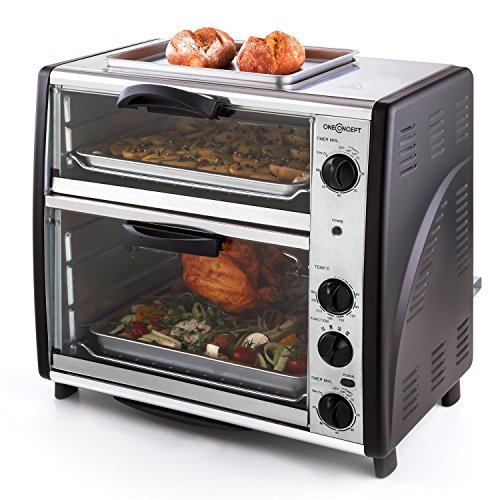 oneConcept All-You-Can-Eat Horno eléctrico doble - 2 cámaras de cocción, Parrilla superior, Capacidad Total 42 L, 2400 W, Temperatura: 60-240°C, Temporizador, Acero inoxidable, Platead