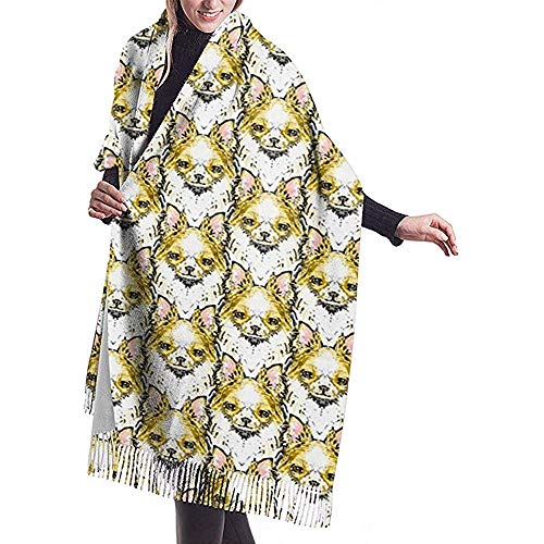 Bufanda Chal Wraps Bufanda de cachemira Chihuahua de pelo largo Bufanda grande Súper suave Cálido para mujeres