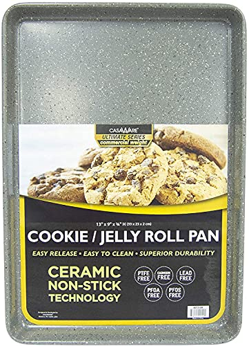 casaWare 13 x 9 x 1-Inch Ultimate Series Commercial Weight Ceramic Non-Stick Coating Cookie/Jelly Roll Pan (Silver Granite)
